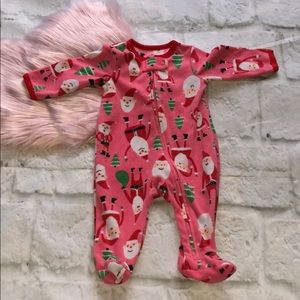 Carter's 3 m. Santa Christmas sleeper pajamas pink
